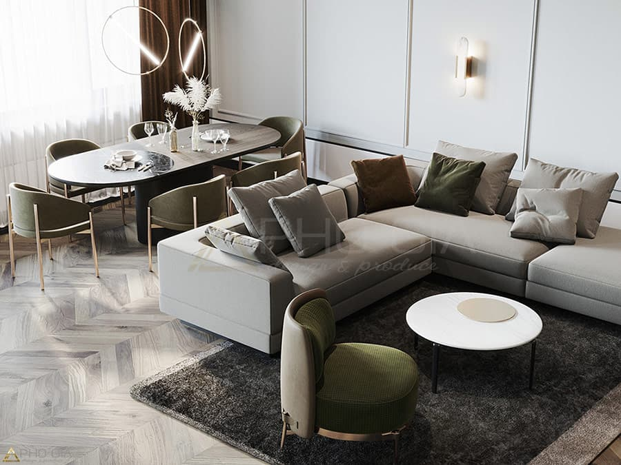 Phong cách thiết kế nội thất hiện đại tại dự án Căn hộ Penthouse Golden Star - Q. 7 do Phố Gia Decor thực hiện.