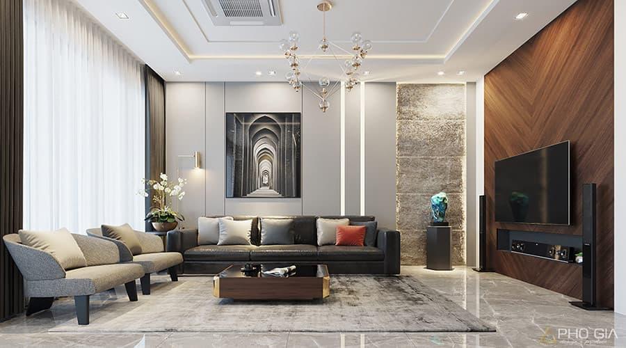 Ánh sáng tự nhiên được tận dụng tôn lên vẻ đẹp của toàn bộ thiết kế nội thất phòng khách.