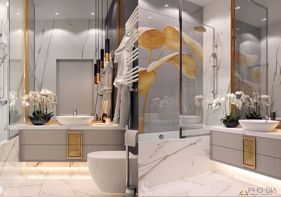 Thiết kế nhà tắm sang trọng với 2 màu trắng - vàng.