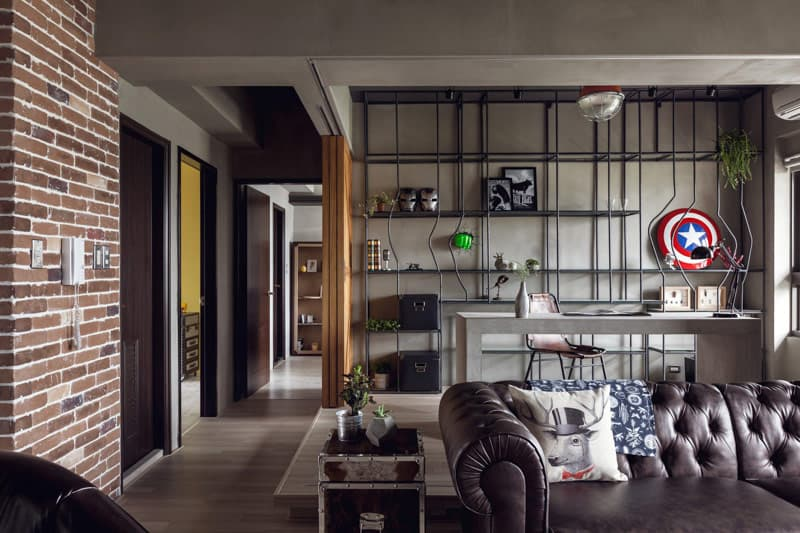 Gỗ, kim loại, gạch hiện diện trong thiết kế nội thất phong cách Công nghiệp.