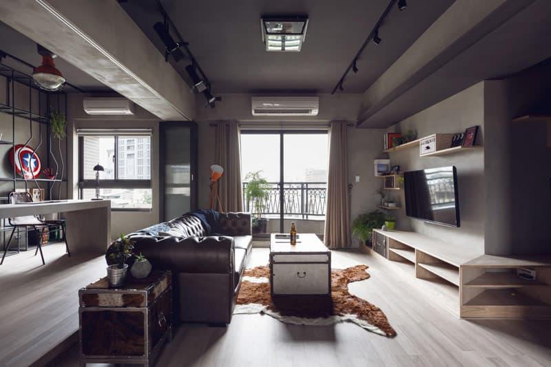 Màu trung tính trong thiết kế phòng ngủ Penthouse phong cách Công nghiệp.
