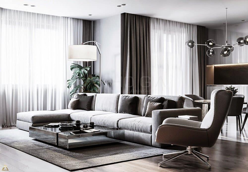Rèm vải trơn, sáng màu tạo cho cảm giác căn phòng rộng hơn