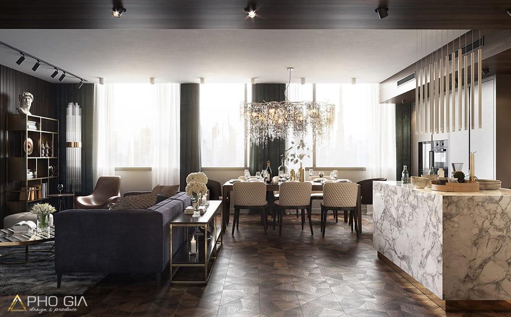 Phòng khách căn hộ penthouse sky villa Quận 7