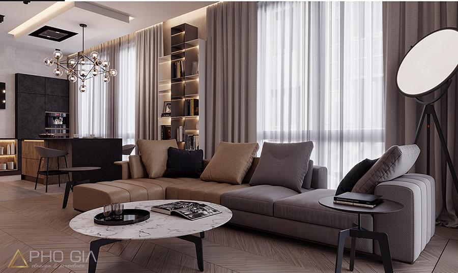Sofa hình chữ L phù hợp cho phòng khách có diện tích hẹp