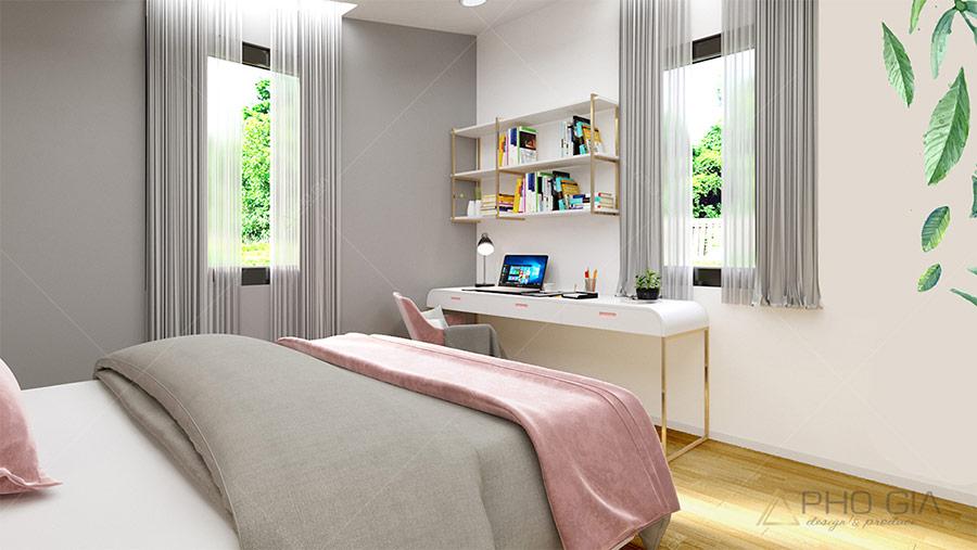 Phòng ngủ master có cửa sổ lớn để đón ánh sáng tự nhiên