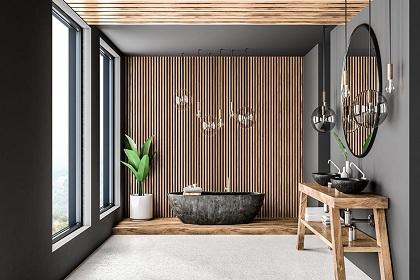 Thiết kế nội thất biệt thự Quận 12 với bí quyết giúp phòng tắm gọn gàng, xanh mát